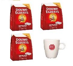 108  D.E. Kaffeepads regular, Rot und eine D.E.  latte Tasse