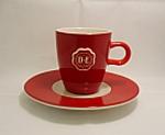 Originale Douwe Egberts Senseo Tasse und Untertasse Rot mit weiss Logo.